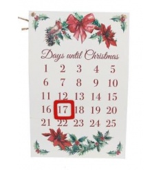 A festive countdown sign with magnetic feature and a traditional Christmas design