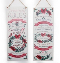 2 assorted beautifully presented metal Christmas signs with Christmas Rules and popular rhyme.