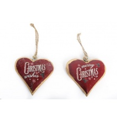2 assorted Christmas slogan wooden hearts