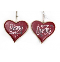 2 assorted design vintage christmas hearts