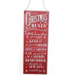 A vintage style metal sign with Christmas Rules. An attractive sign to be displayed during the festive season.