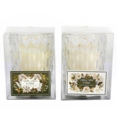 An assortment of 2 cut glass candle pots with beautifully scented candles.