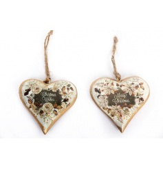 Stylish wooden hearts with a gold and cream floral design. Complete with Christmas slogans.