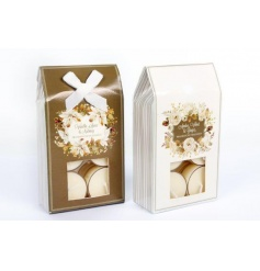 2 assorted t-light packs with beautiful festive scents and attractive gold floral packaging.