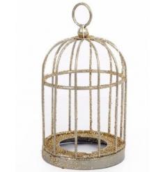 A stunning gold glitter birdcage with t-light holder.