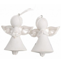 An assortment of 2 white and silver hanging angel decorations.