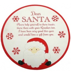 A fabulous Santa treat plate with message. Ideal for displaying carrots, mince pies and a tipple!
