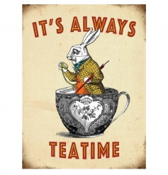 Vintage style metal sign with White Rabbit image