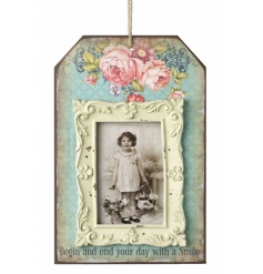 Colourful hanging photo frame with floral design and Smile quote
