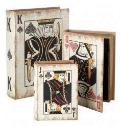 Set of three wooden boxes with playing card designs