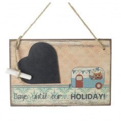 A great way to countdown to holidays. With heart shaped chalkboard and chalk attached with jute string.