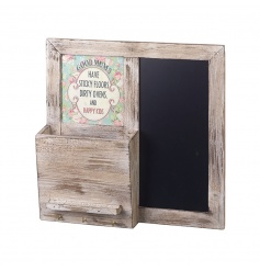 Good Mums have sticky floors, dirty ovens and happy kids wall storage unit with hooks and chalkboard.