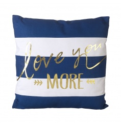 Comfy blue and white striped cushion with script