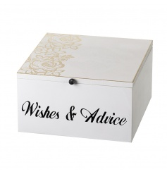 Beautiful white wooden box with hinged lid, finished with a delicate gold floral pattern