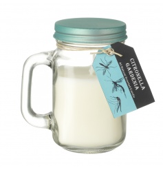 A lovely floral gardenia scented citronella garden candle in a mason styled jar.