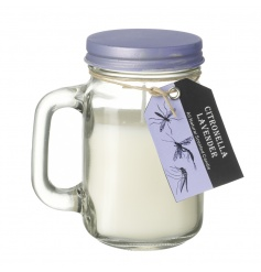A lovely lavender scented citronella garden candle in a mason styled jar