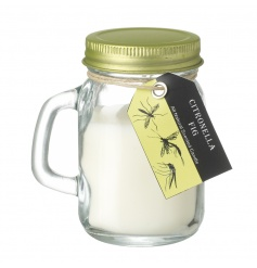 A sweet fig scented citronella garden candle in a mason styled jar