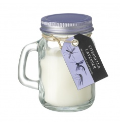A lovely lavender scented citronella garden candle in a mason styled jar.