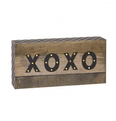 Wooden box sign with XOXO LED lights