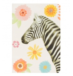 A bright and bold A5 notebook with a floral print and zebra design.