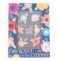 A stunning navy floral photo frame with 'Find Beauty In The Everyday' text.