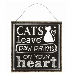 A bold chalkboard style sign with Cats Paw Print script.
