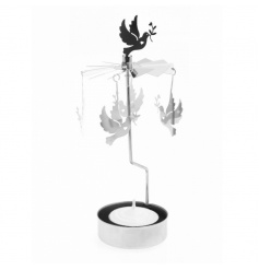 Silver tlight holder with rotating Dove decorations