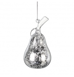 Add some glamour to your festive tree with this chic silver pear with an antique finish.