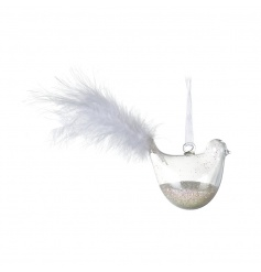 Add some magic to your festive tree with this beautiful 3D bird filled with glitter and finished with a feather tail.