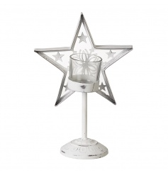 A shabby chic style t-light holder with a decorative star. A gorgeous seasonal decoration for the home.
