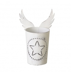 A shabby chic style t-light holder with angel wings. The t-light glows beautifully through the star motif when lit.
