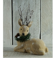Beautiful hessian material sitting reindeer