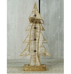 A charming wooden Christmas tree ornament with a dusting of gold glitter.