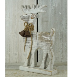 A fabulous standing reindeer decoration with a glitter finish and rustic bells.