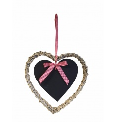 A rustic style willow heart wreath with a hanging chalkboard and red gingham bow.