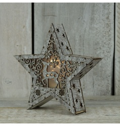A beautiful 3D wooden star decoration with LED lights and a fabulous laser cut reindeer design.