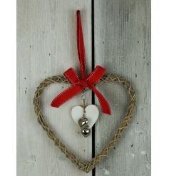 Festive woven wooden heart