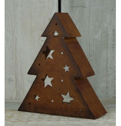 A rustic copper 3D standing tree ornament with cut out star designs. An on trend item for the home this season.