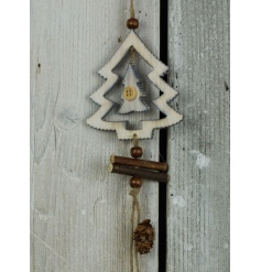 A rustic wooden tree decoration with buttons and beads. A charming woodland item.