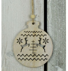 A charming wooden bauble hanger with a laser cut reindeer design. Complete with jute hanger and bead.