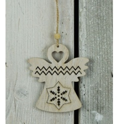 A wooden hanging angel ornament with a laser cut pattern including heart and snowflake designs.
