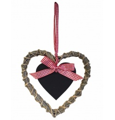 A charming willow heart wreath with a hanging chalkboard and gingham ribbon.