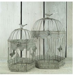 A set of 2 charming bird cages with a pretty butterfly design. A great multi-purpose item.