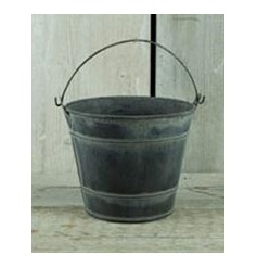 A charming zinc bucket with wooden handle. A great planter and storage item.