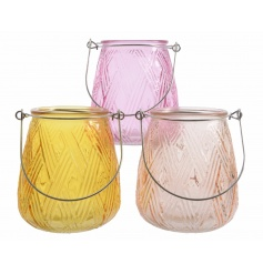 Colourful glass tlight holders in an assortment of three