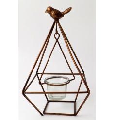 A contemporary style geometric lantern with elegant bird feature.