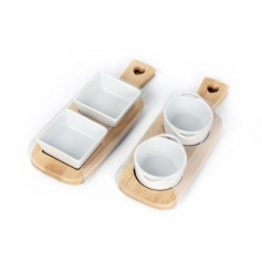 2 Bamboo trays with dipping bowls