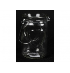 Clear glass candle holder with embossed heart