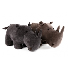 2 assorted black and brown rhino doorstops. A unique and stylish home accessory.