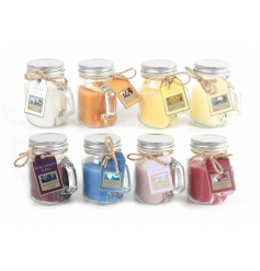 A mix of 8 scented candles in stylish mini mason jars.